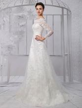 A-Linie-Brautkleid aus Spitze mit Carmenausschnitt und Perlen-Applikation Mit Schleppe in Elfenbeinfarbe Milanoo