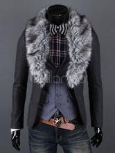 Grey Men Coat Revestimento de inverno Faux Fur Turndown Collar Casaco curto de manga comprida
