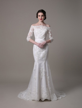 Wedding Dresses Vintage Lace Mermaid Of The Shoulder Court Train Bridal Dress Milanoo