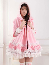 Lolitashow Hooded Lace Lolita Cape