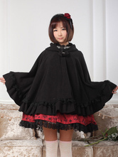 Lolitashow Hooded Lolita Cape With Ruffles
