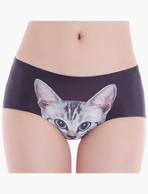Black Animal Print Silk Comfy Panties For Women