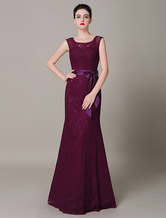 Weintraube Lace Braidmaid Kleid V-Rücken Bogen Gürtel Abendkleid