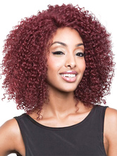Anime Costumes AF-S2-609071 African American Wigs Medium Wig Burgundy Tousled Wigs In Heat-resistant Fiber