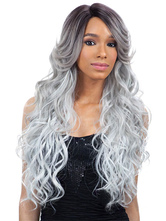 AF-S2-610097 Silver Gray Long Crimped Curls Wigs