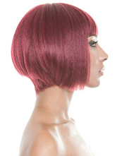 AF-S2-609015 Burgundy Tousled Short Straight Synthetic Wigs