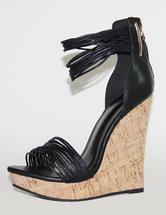 Black Wedge Sandals Open Toe Ankle Strap Platform Heels Sandal Shoes For Women