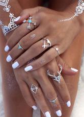 Boho nudillo anillo étnico en relieve 7 piezas anillo conjunto