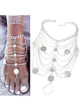 Bracelets de cheville argent Fringe Coin plage