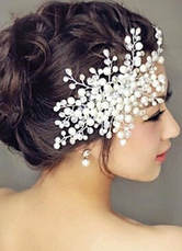 Pearls Wedding Accessories White Comb Bridal Headpieces
