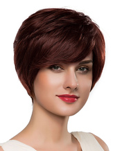 AF-S2-616057 Short Curly Wigs Side-swept Bangs Tousled Human Hair Wigs