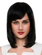 Anime Costumes AF-S2-618885 Women's Medium Wigs Black Wigs Straight Human Hair Wigs With Side-swept Bangs