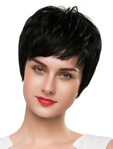 Anime Costumes AF-S2-617909 Short Black Wigs Human Hair Women's Real Hair Wigs In Boy Cuts Style