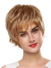 Anime Costumes AF-S2-618901 Short Curly Wigs Women's Light Brown Human Hair Wigs With Bangs