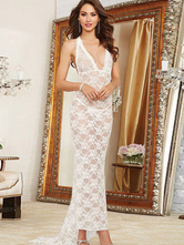 White V-neck Backless Lace Sheer Gowns
