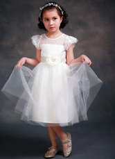 Princesa Formal vestido vestido bola vestido ilusión cuello manga corta de niña de flor de Satén chica