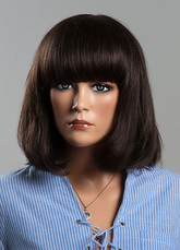 Anime Costumes AF-S2-618851 Medium Straight Wigs Brown Human Hair Wigs With Bangs