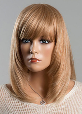 Anime Costumes AF-S2-618845 Flaxen Human Hair Wigs Women's Medium Straight Wigs With Bangs