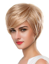Anime Costumes AF-S2-618797 Short Blonde Wigs Straight Wigs With Bangs For Women