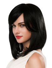 Anime Costumes AF-S2-618801 Medium Black Wigs Women's Straight Wigs With Bangs Human Hair Wigs