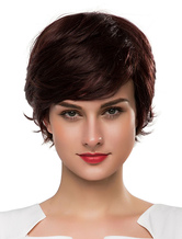 Anime Costumes AF-S2-618771 Human Hair Wigs Women's Short Wigs In Boycuts Style With Side-swept Bangs