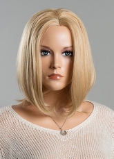 Anime Costumes AF-S2-618875 Blonde Human Hair Wigs Medium Straight Wigs Women's Centre Parting Wigs