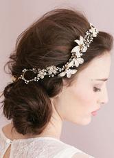 Gold Headpiece Chain Headpieces Bridal Wedding Flower Headband Tiara ( 40 Cm X 3 Cm)