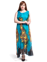 Plus Size Maxi Dress Chiffon Tribal Print Sleeveless Long Dress For Women