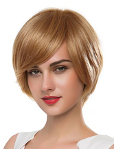 Anime Costumes AF-S2-619131 Women's Blonde Wigs Short Straight Human Hair Wigs With Side-swept Bangs