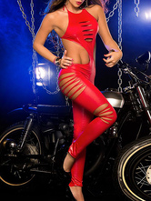 Pole Dancing Jumpsuit Women's Red Halter Backless Cut-out Sexy Jumpsuit