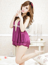 Purple Sexy Lingerie Women's Lace Backless Lovely Night Dress With Panty