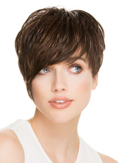 AF-S2-624761 Brownish Black Hair Wigs Women's Layered Heat-resistant Fiber Synthetic Short Wigs