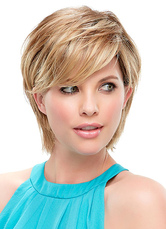 AF-S2-624745 Short Straight Hair Wigs Women's Side Bangs Layered Synthetic Wigs In Light Gold