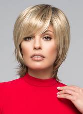 AF-S2-624743 Flaxen Short Hair Wigs Side-Swept Women's Straight Heat-resistant Fiber Synthetic Wigs