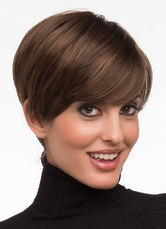 Anime Costumes AF-S2-624755 Brown Short Wigs Heat-resistant Fiber Layered Straight Synthetic Hair Wigs For Women