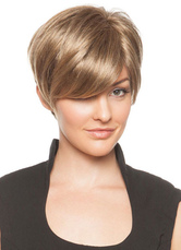 AF-S2-624753 Short Hair Wigs Women's Side-swept Straight Synthetic Hair Wigs In Light Gold