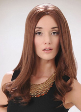 AF-S2-624751 Brown Long Hair Wigs Women's Center Parting Curls At Ends Fashion Synthetic Wigs