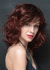 AF-S2-626403 Women's Curly Wigs Chestnut Brown Shoulder Length Synthetic Side Parting Hair Wigs