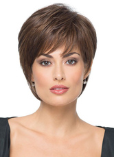 AF-S2-626405 Women's Short Wigs Straight Boycuts Brownish Black Synthetic Hair Wigs With Side-swept Bangs
