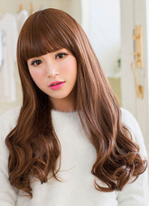 AF-S2-626407 Women's Long Wigs Brown Curls At Ends Synthetic Hair Wigs With Blunt Fringe