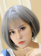 Women's Gray Bobs Short Wigs Straight Synthetic Hair Wigs