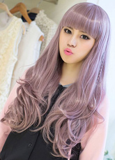 AF-S2-626415 Women's Long Wigs Curly Lilac Synthetic Spiral Curl Blunt Fringe Hair Wigs