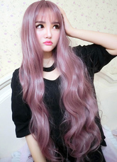 AF-S2-626417 Women's Long Wigs Wavy Lilac Synthetic Hair Wigs With Bangs