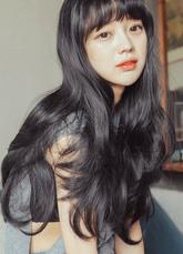 AF-S2-626419 Women's Long Wigs Black Wavy Synthetic Blunt Fringe Hair Wigs