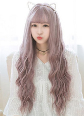 Anime Costumes AF-S2-626421 Women's Long Wigs Curly Lavender Synthetic Corkscrew Curl Tousled Hair Wigs With Bangs