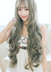 AF-S2-626441 Women's Long Wigs Curly Light Gray Spiral Curl Synthetic Tousled Hair Wigs With Bangs