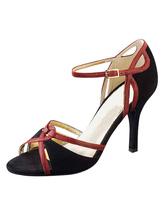 Peep Toe Ballroom sapatos camurça preta cinta sandálias do salto elevado para as mulheres