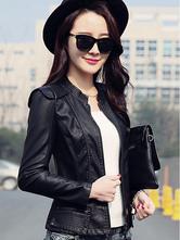 Women's Leather Jacket Women's Padded Shoulder Solid Color Short Moto Jacket