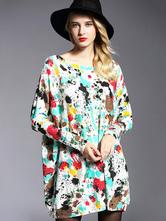 5153dfab85cb Vestiti maglione di donne stampato maniche lunghe abiti maglia corti di  cotone oversize-No.