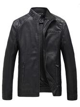 Chaqueta negro PU cuero paño grueso y suave de los hombres alineado Slim Fit chaqueta Causal